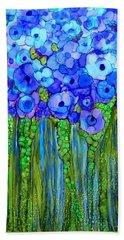 Beach Sheet featuring the mixed media Wild Poppy Garden - Blue by Carol Cavalaris
