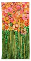 Beach Towel featuring the mixed media Wild Poppy Garden - Gold by Carol Cavalaris