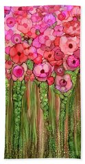 Beach Towel featuring the mixed media Wild Poppy Garden - Pink by Carol Cavalaris