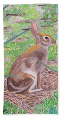 Beach Towel featuring the painting Wild Rabbit by Hilda and Jose Garrancho