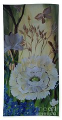 Wild Rose In The Forest Beach Towel by Donna Brown