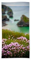 Wild Sea Pinks In Cornwall Beach Towel