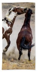 Wild Stallion Battle - Picasso And Dragon Beach Towel by Nadja Rider