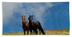 Wild Stallions Together Beach Towel