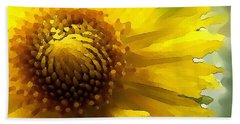 Beach Towel featuring the digital art Wild Sunflower Up Close by Shelli Fitzpatrick
