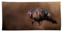 Wild Turkey In The Woods Beach Sheet by Jai Johnson