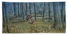 Wild Turkeys In Forest Version Two Beach Sheet