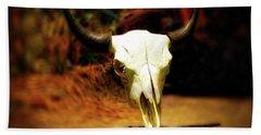 Wild West Bison Skull Beach Towel