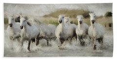 Wild White Horses Of The Camargue I Beach Towel