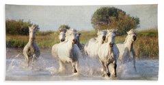 Wild White Horses Of The Camargue Vl Beach Towel