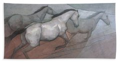 Wild White Horses Beach Towel