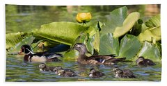 Wild Wood Duck Family Outing Beach Towel