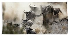 Wildebeest Herd Crossing The Mara River Beach Towel