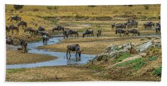 Wildebeest In The Tarangire Beach Towel