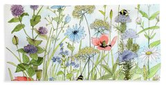 Wildflower And Bees Beach Towel