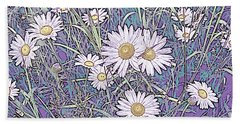 Wildflower Daisies In Field Of Purple And Teal Beach Sheet