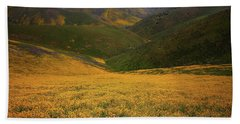 Wildflower Field Up In The Temblor Range At Carrizo Plain National Monument Beach Sheet