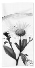 Beach Towel featuring the photograph Wildflower In A Wine Glass Black And White by Donna Lee