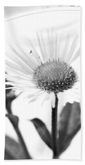 Wildflower In A Wine Glass Black And White Beach Towel
