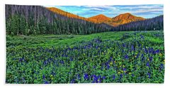 Beach Towel featuring the photograph Wildflower Park by Scott Mahon