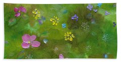 Beach Towel featuring the painting Wildflower Support by Judith Rhue