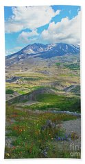 Wildflowers And Mt. St. Helens 4 Beach Sheet by Ansel Price