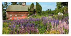 Wildflowers And Red Barn Beach Sheet by Roupen  Baker
