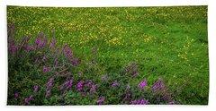 Beach Towel featuring the photograph Wildflowers In An Irish Field by James Truett