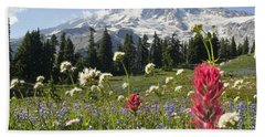 Wildflowers In Mount Rainier National Beach Towel