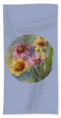 Beach Towel featuring the painting Wildflowers by Mary Wolf