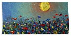 Wildflowers Meadow Sunrise Modern Floral Original Palette Knife Oil Painting By Ana Maria Edulescu Beach Towel