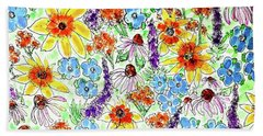 Beach Towel featuring the painting Wildflowers  by Monique Faella