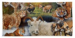 Wildlife Collage Beach Towel by David Stribbling