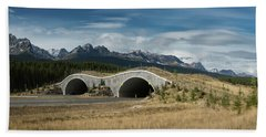 Wildlife Crossing Over The Trans Canada Highway Beach Towel