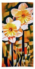 Wildly Abstract Daffodil Pair Beach Towel