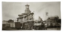 Wilkes Barre Pa. New Jersey Central Train Station Early 1900's Beach Towel