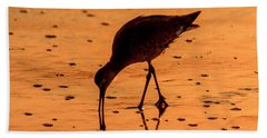 Beach Towel featuring the photograph Willet On Sunrise Surf by Steven Sparks