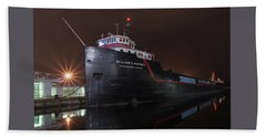 William G Mather At Night  Beach Towel