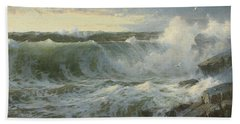 Beach Towel featuring the painting William Trost Richards American 1833  1905   Seascape by Artistic Panda