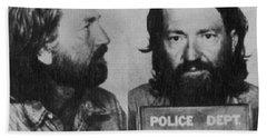 Willie Nelson Mug Shot Horizontal Black And White Beach Sheet