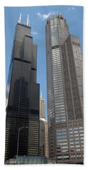 Willis Tower Aka Sears Tower And 311 South Wacker Drive Beach Sheet by Adam Romanowicz