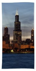Willis Tower At Dusk Aka Sears Tower Beach Towel by Adam Romanowicz