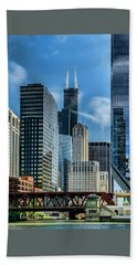 Willis Tower, Skyline And Chicago River On A Sunny Day  Beach Towel