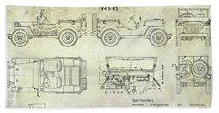 Willys Jeep Blueprint Beach Towel