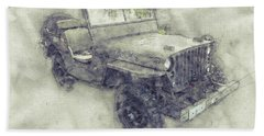 Willys Mb 1 - Ford Gpw - Jeep - Automotive Art - Car Posters Beach Towel
