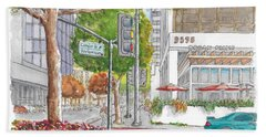 Wilshire Blvd. And Camden Dr. In Beverly Hills, California Beach Sheet by Carlos G Groppa