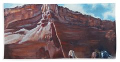 Beach Towel featuring the painting Wind Horse Canyon by Karen Kennedy Chatham