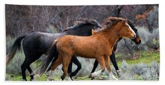 Beach Towel featuring the photograph Wind In The Manes by Mike Dawson