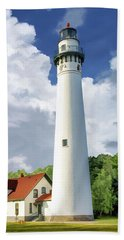 Beach Towel featuring the painting Wind Point Lighthouse by Christopher Arndt