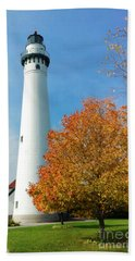 Wind Point Lighthouse In Autumn Beach Towel by Ricky L Jones